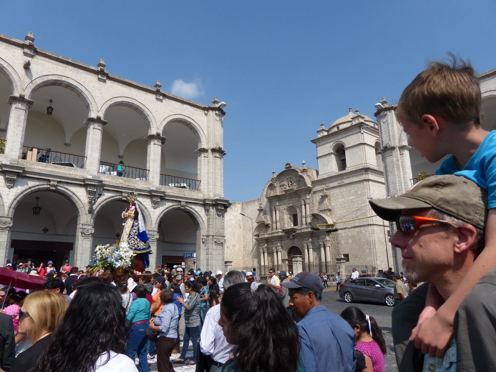 After lunch we got to see a May Day parade work its way through the Plaza de Armas.