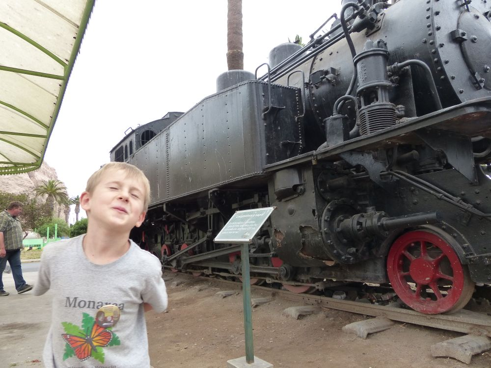 Quinn checks out the steam engine imported from Germany in 1924.