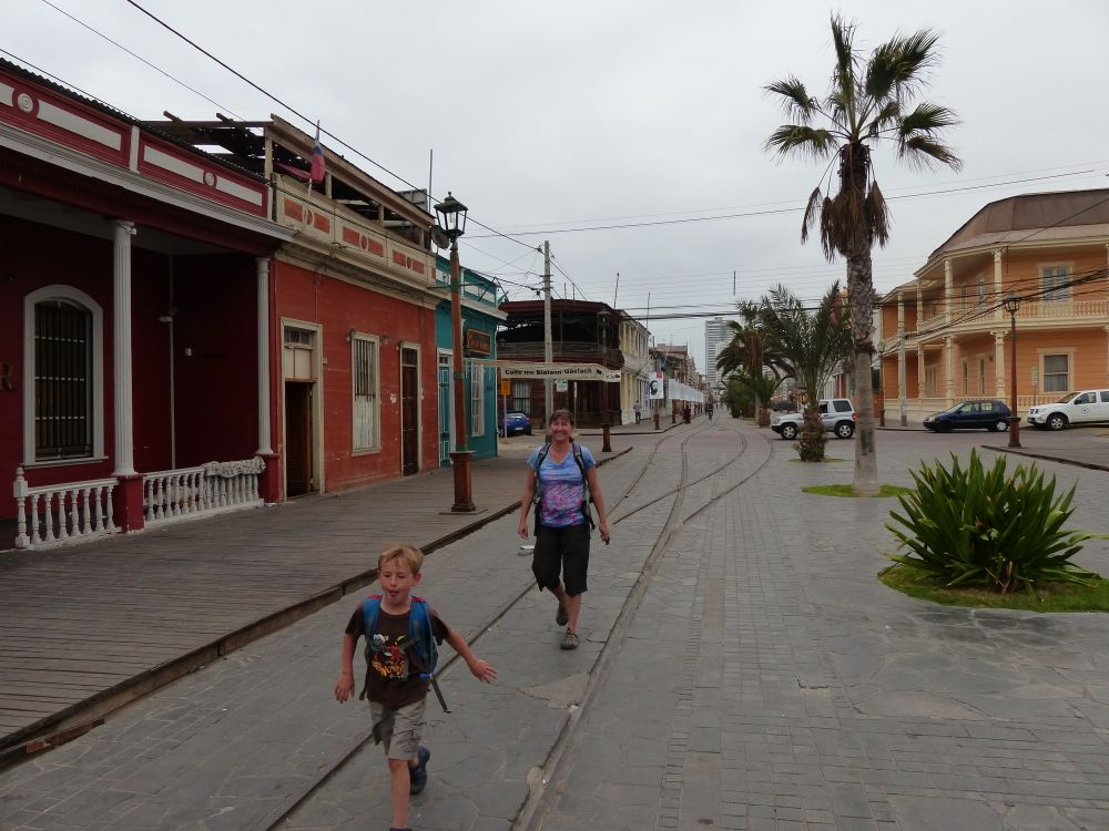 Iquique's downtown area, featuring trolley tracks and wooden sidewalks, reminded us of an old West town.