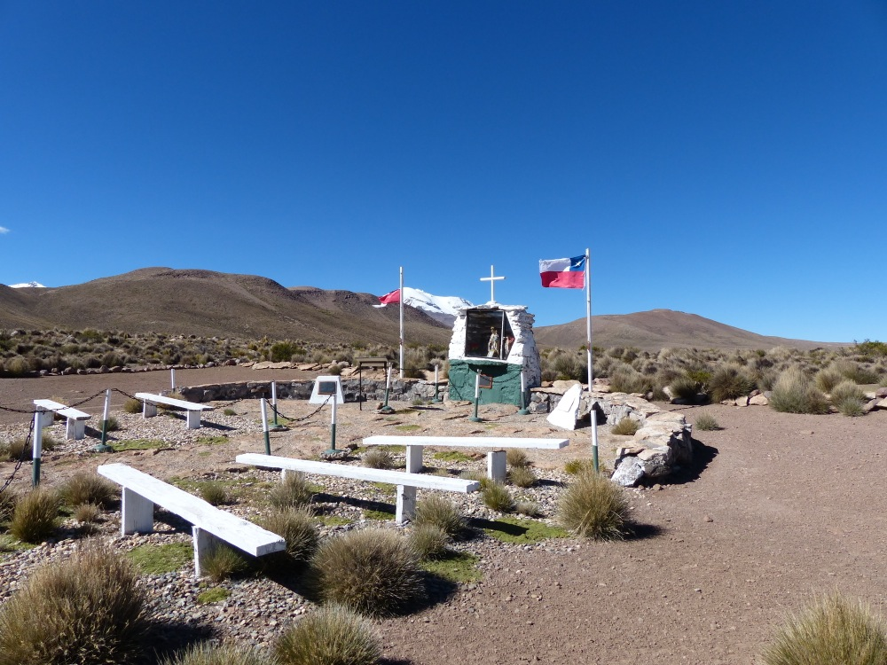 The next day we came across this outdoor chapel. Stunning scenery, but attending Mass here would be a cold experience.