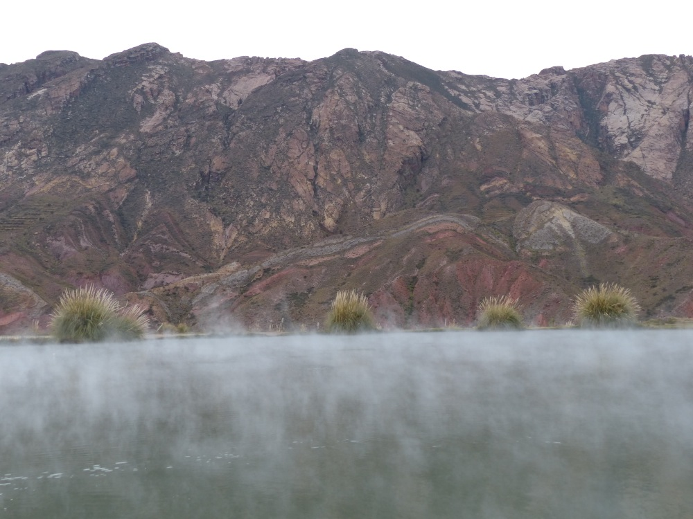 There was a whole lake that was warmed by the hot springs and in the morning the steam rose off the water into the chilly air.
