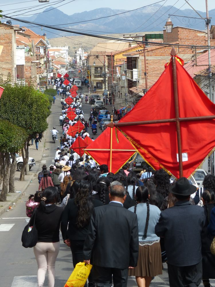 This long procession wound past our campground. We could hear it, and ran down the street to watch.