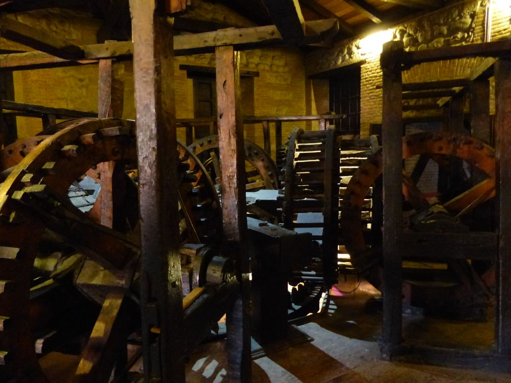 This complex wooden gearing is a mule-driven press dating back 250 years. It's still in the same location as when it was constructed.
