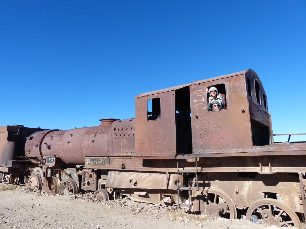 No safety rules here. We could climb around on the rusting locomotives to our heart's content.