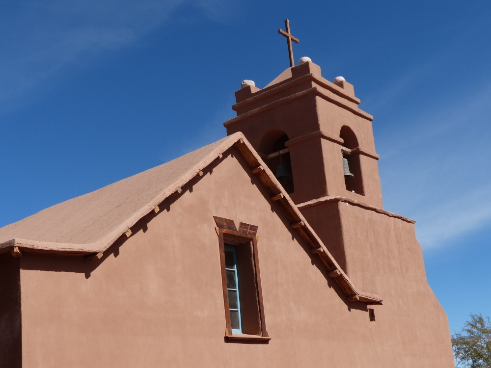 One benefit of our extended stay in San Pedro was that we got to see the beautiful adobe church without its shroud of scaffolding.