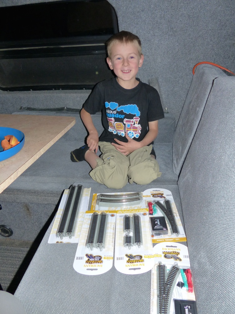 By far the most important part of the care package was new tracks for Quinn's train set.