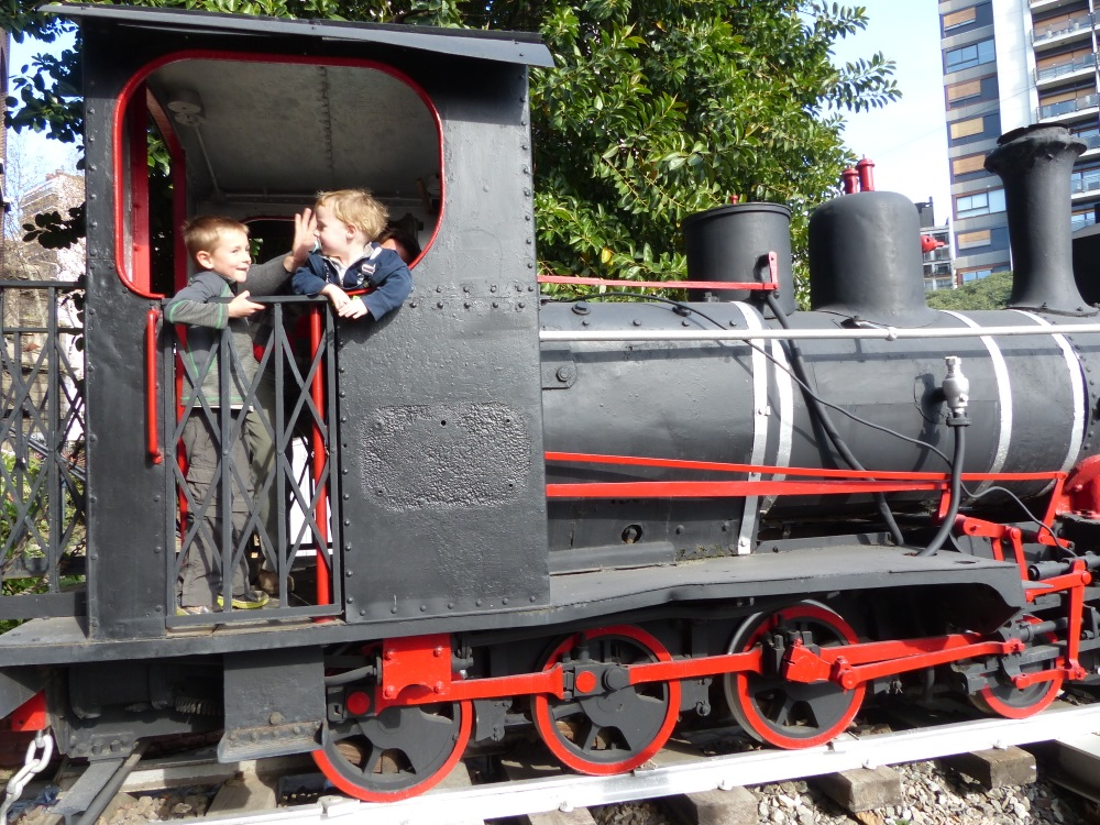 We took a local commuter train into the city to visit a railway museum there. Unfortunately it was closed for a holiday, but at least there was a steam engine out front to play on.