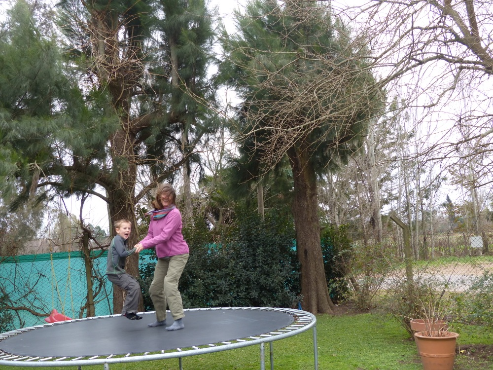 We spent a couple of down days enjoying the trampoline and other toys at the Zapp house.