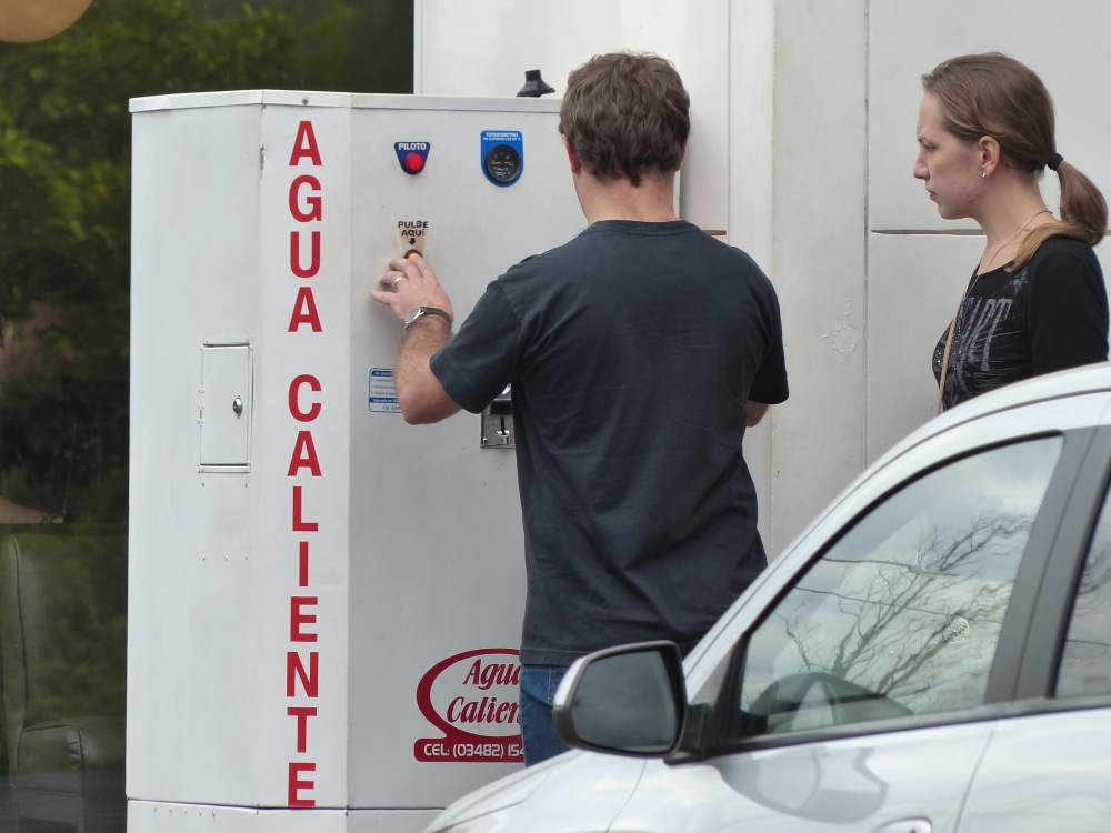 Many gas stations offered a hot water dispenser where folks would re-fill their thermos for the road.