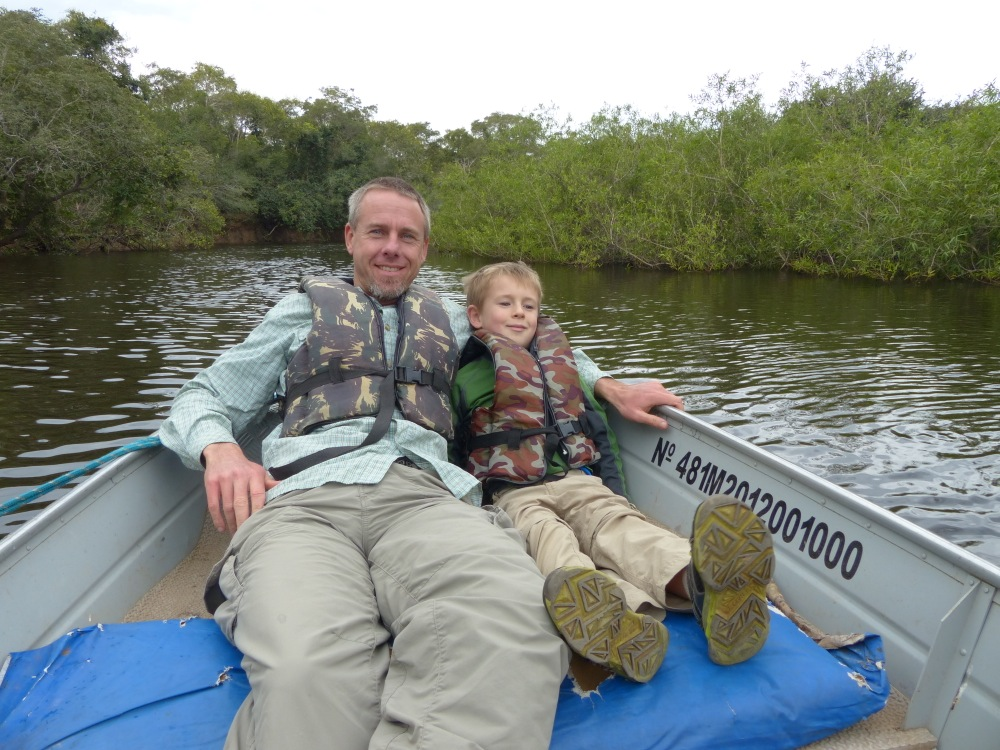Witt and Quinn relax during a boat trip along the Miranda River.