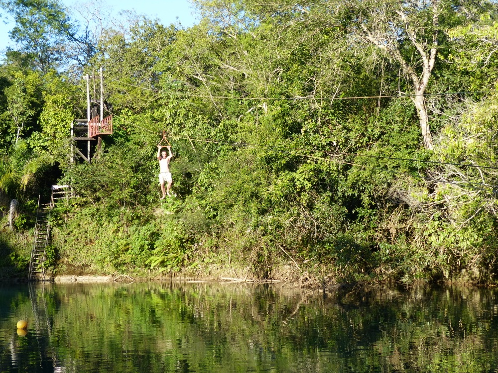 Witt tries out the zipline at one of the swimming holes.