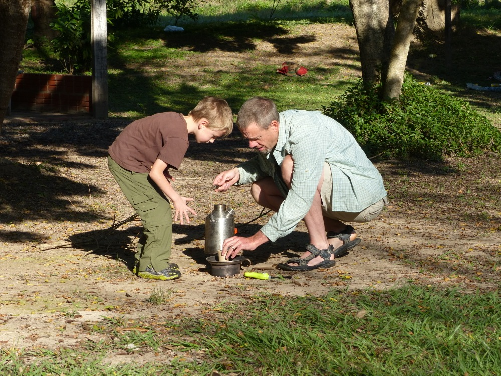 On a slow morning Witt and Quinn use the Kelly Kettle to boil water for coffee.