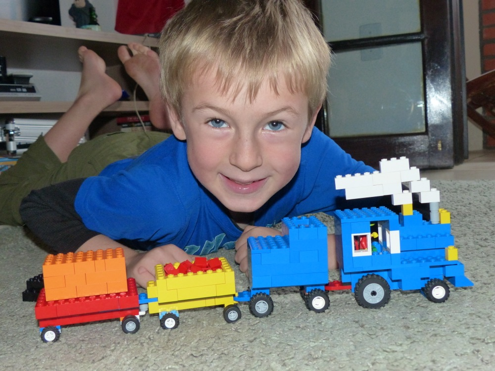 Quinn made the awesome train out of Legos. Check out the smoke!