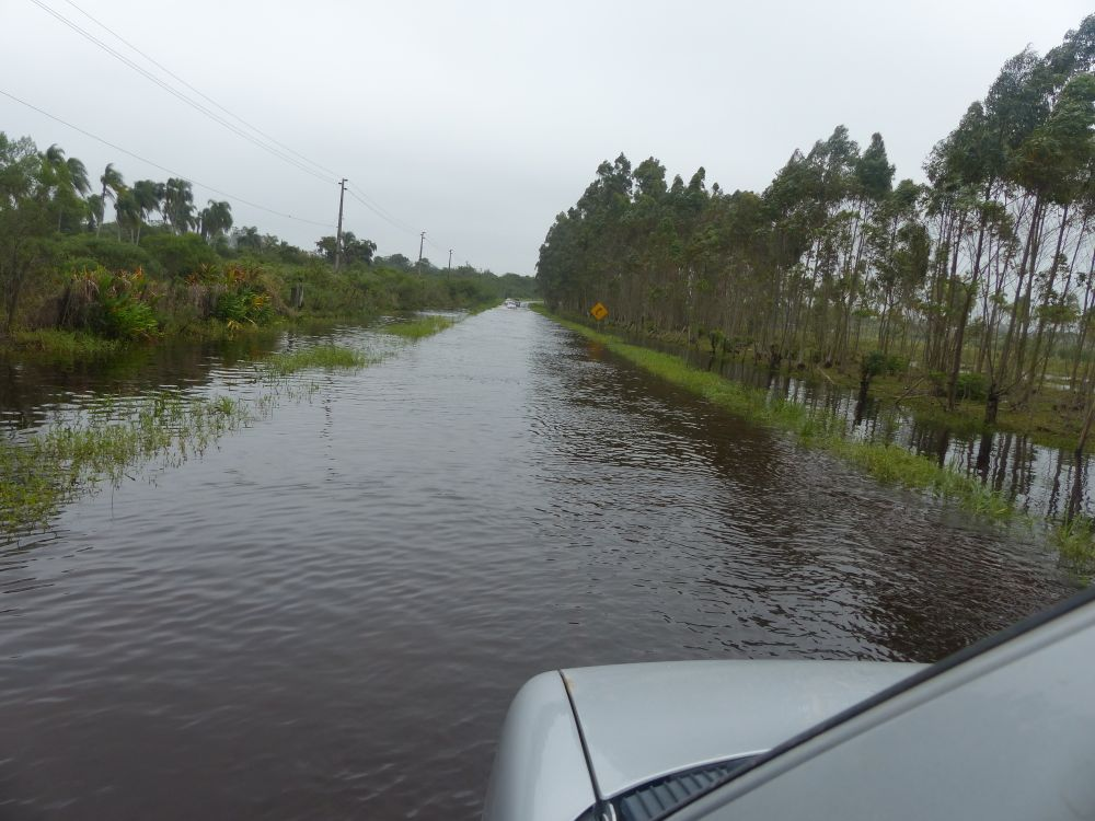 The next day we had to cross a short section of flooded-out road on our way up to Gramado from the coast.