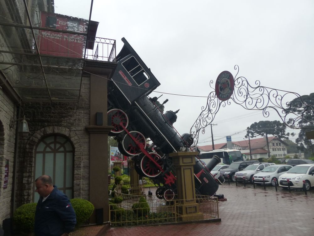 The front of the steam museum is a re-creation of a famous train accident that occurred in Paris in 1895.