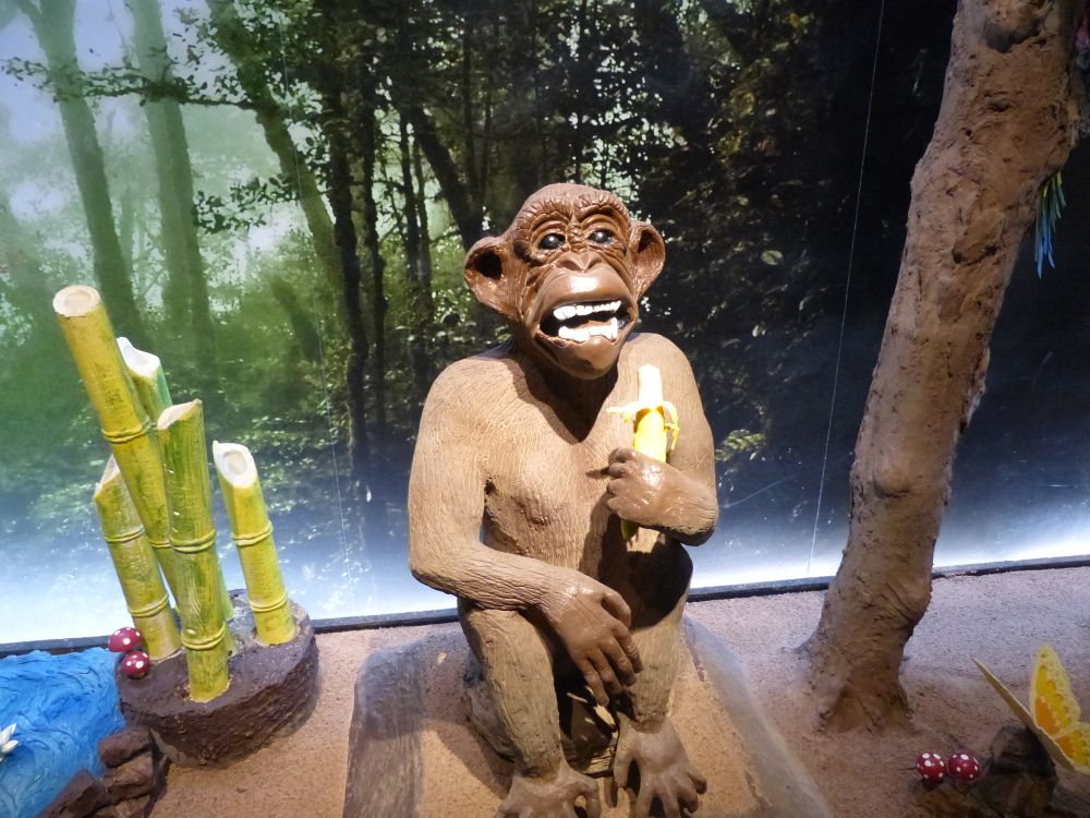 We visited 'Chocolate World' (Mundo Chocolate) which housed this monkey, an Eiffel Tower, and all kinds of other stuff made entirely from chocolate.