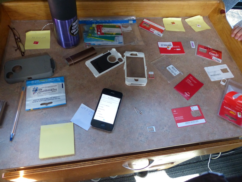 Trying to find our Argentina SIM card in our vast collection...