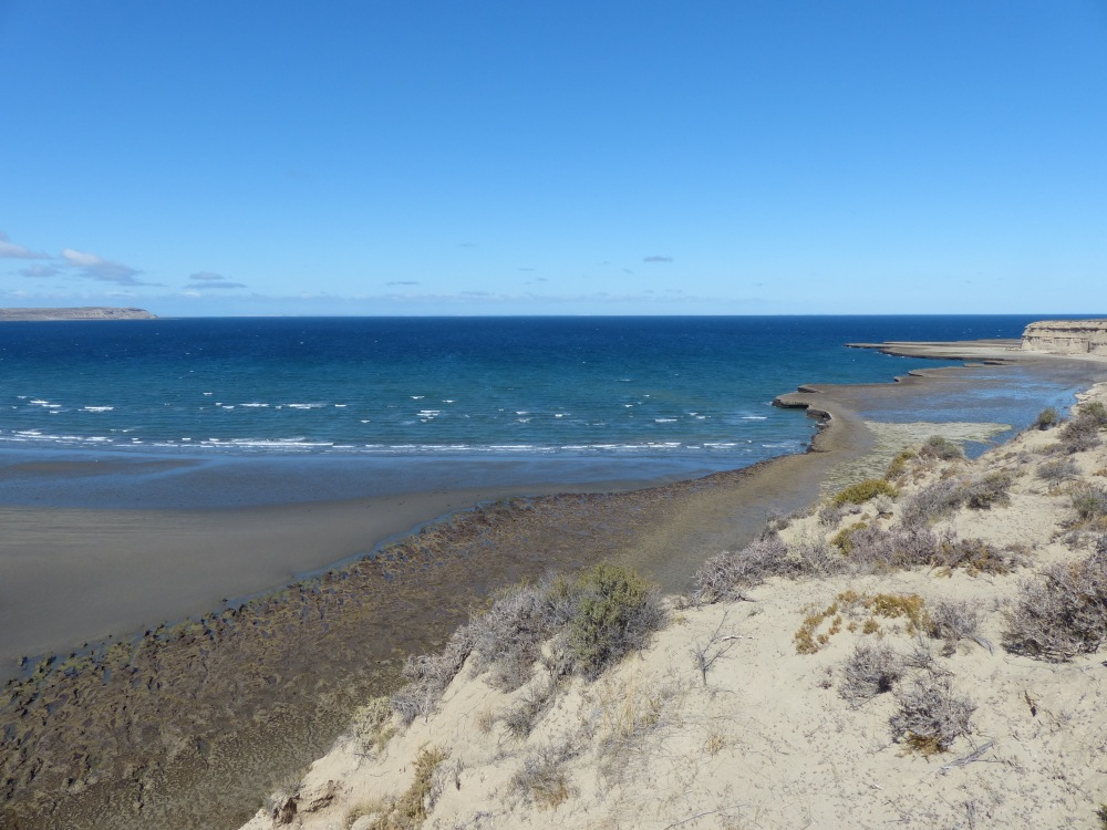 The coastline is desert scrub land with beautiful blue waters. It's not as barren and lifeless as the parts of the Pacific coast that we've seen.
