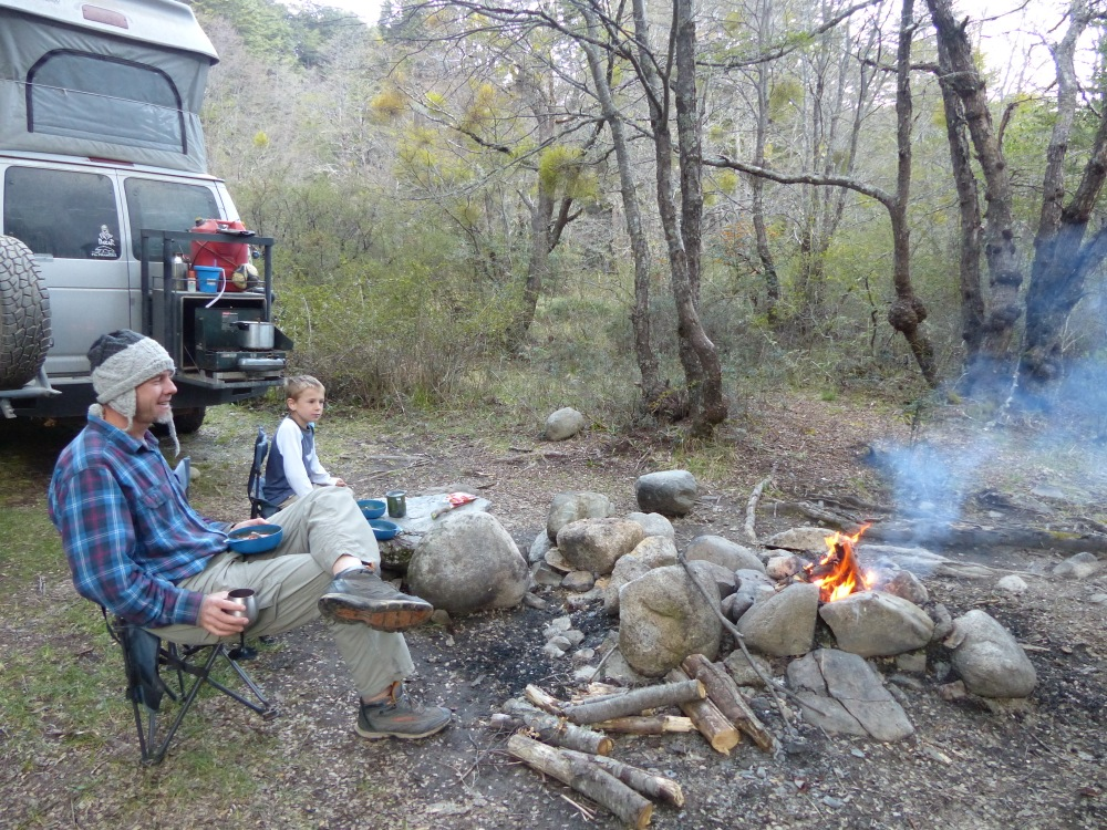We found a great campsite on the river and enjoyed sitting around the campfire.