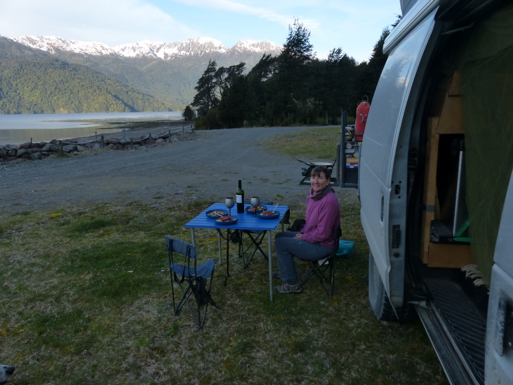 We stopped one evening at an upscale lodge that our camping app (iOverlander) said also had a campground. They weren't quite open for the season yet, but let us stay anyway at a reduced price.