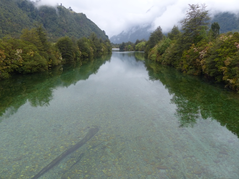 One of the many crystal clear rivers we crossed. This one was on the northern end of the Carretera Austral near Puerto Montt.