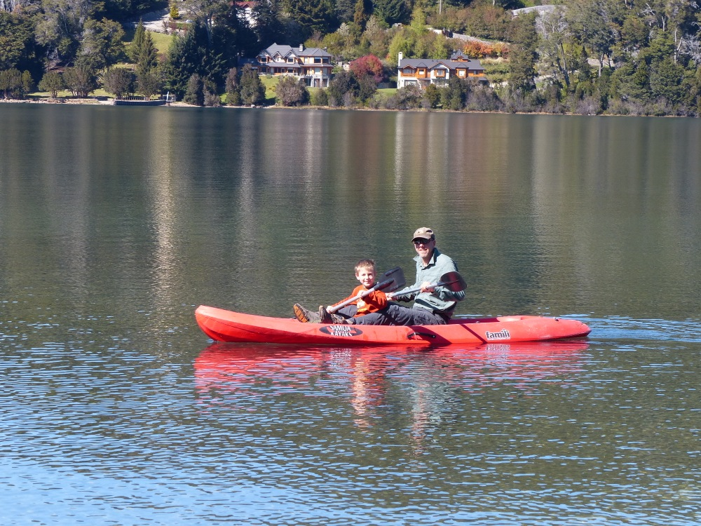 We crossed into Argentina to explore Bariloche. We didn't like the city much, but we found a great campground on the lake that let us use their kayaks.