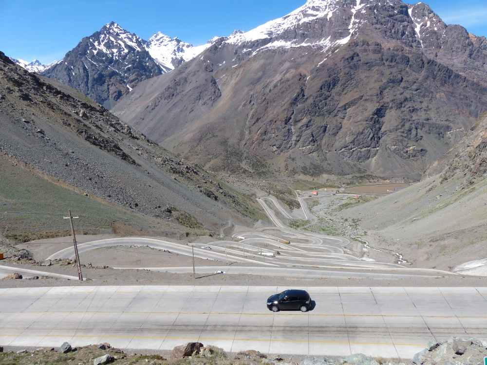 The switchbacks on the way up to the pass separating Chile from Argentina are numbered - over twenty of them!