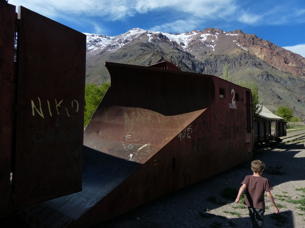 """On the way down the pass into Argentina we stopped to look at what we call """"Old Train Stuff."""" This was a snow plow for clearing the line that once ran over the pass."""