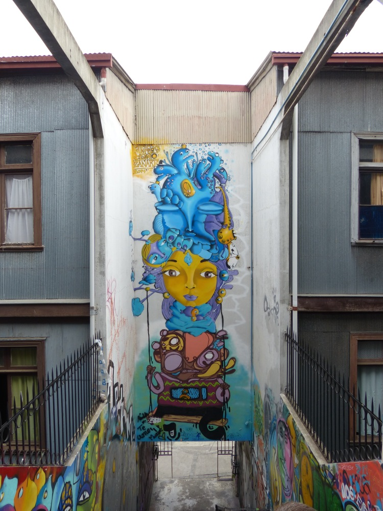 Valparaiso is justifiably famous for its street art, and we were introduced to the works of several local artists during our tour.