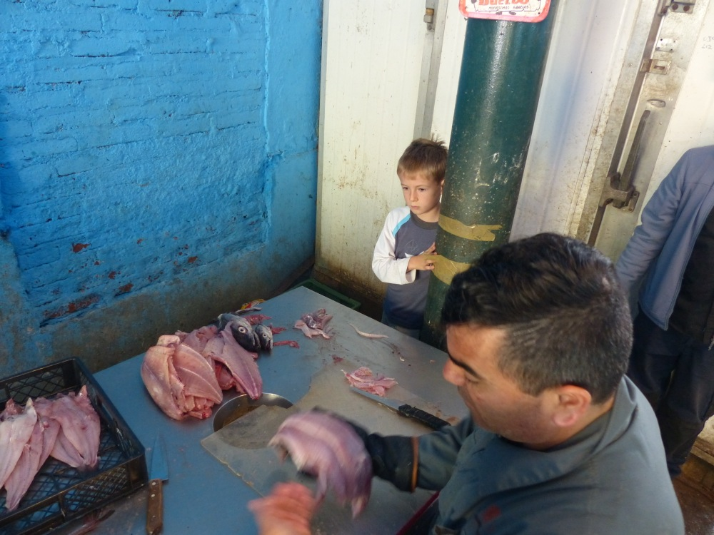 Our day started with a visit to the market to buy ingredients. Here Quinn watches the fish cleaner filet the fish we bought from the fish seller.